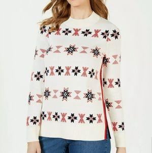 Charter Club Mock Neck Snowflake Sweater L